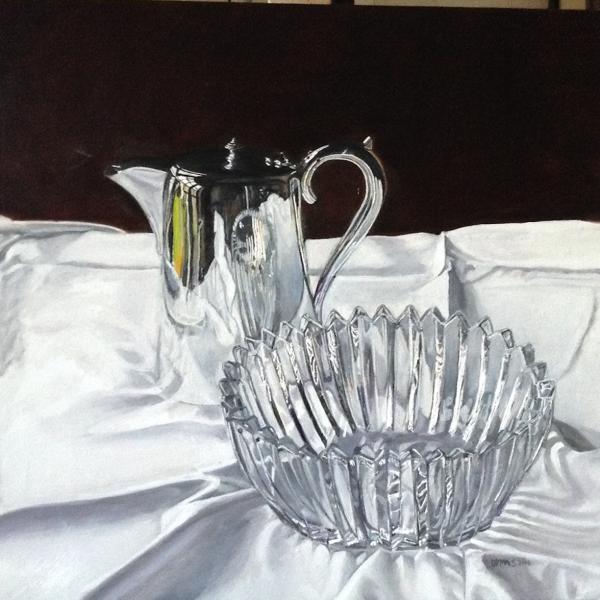 Glass & Silver, oil on linen, 48 x 50cm