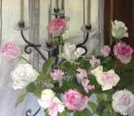 Roses & Candelabra, oil on linen, 106 x 120cm