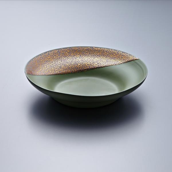 Pasta Plate - Green Body/Gold lustre. Polychrome enamelled porcelain. 24 x 5.5 cm £240 VAT inc.