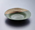 Small Plate - Green Body/Gold lustre. Polychrome enamelled porcelain. 21.5 x 4.5 cm £204 VAT inc.