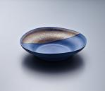 Pasta Plate - Blue Body/Gold lustre. Polychrome enamelled porcelain. 24 x 5.5 cm £240 VAT inc.