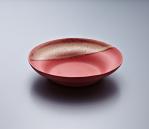 Pasta Plate - Red Body/Gold lustre. Polychrome enamelled porcelain. 24 x 5.5 cm £240 VAT inc.