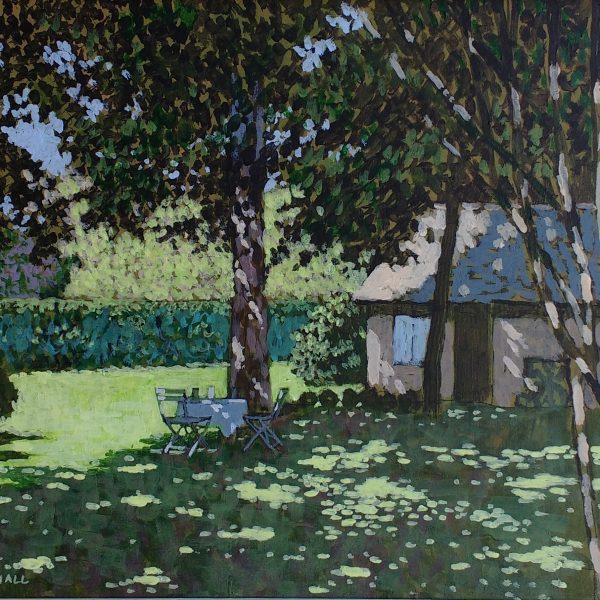 French Garden in Dappled Light, acrylic on canvas, 35.56 x 30.48 cm, £954 inc. VAT