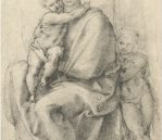 """The Virgin and Child with the Infant St. John, c.1532. Black chalk, 6.6"""" x 9.8"""", £192 inc. VAT"""