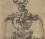 """Study for the Fontana del Moro in the Piazza Navona in Rome, c.1652-1655. Pen and brown wash, 8.1"""" x 9.7"""", £216 inc. VAT"""