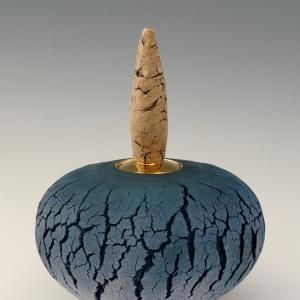 Blue Monolith 27H x 23ø cm £500 ex. VAT