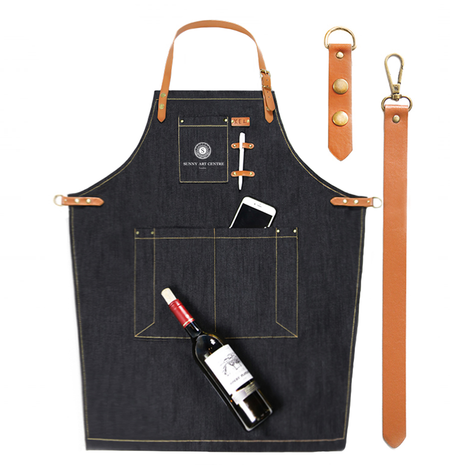 denim jean work apron with adjustable leather waist ties and