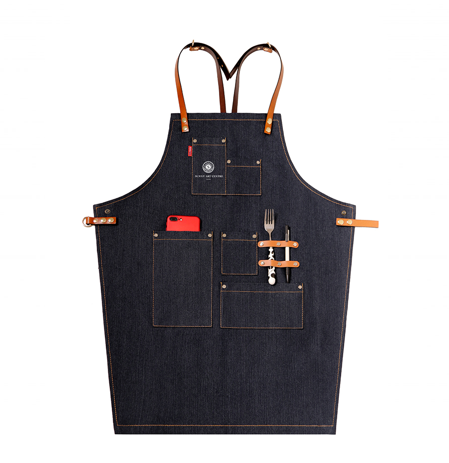 Denim Jean Work Apron with adjustable leather waist ties and neck ...