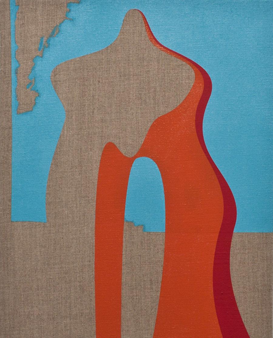 Standing, Acrylic paint on linen, 35.5 x 25 cm