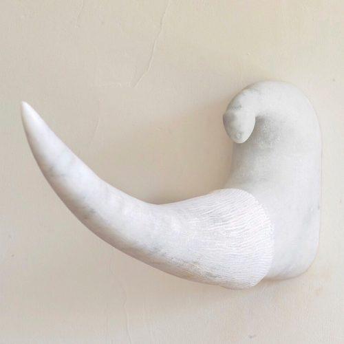 'Wry?No!', Carrara marble, 31x66x10cm.