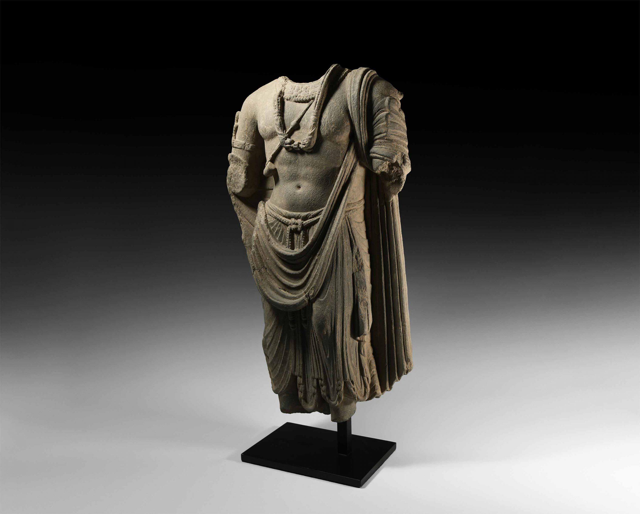 Gandharan Bodhisattva Statue Buddhist Asian Art Antique Sculptures